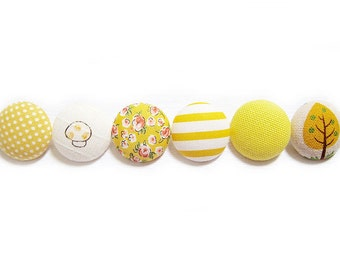 6 Large Fabric Buttons Set - Yellow Buttons - Fabric Covered Buttons
