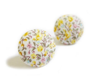 FREE SHIPPING Fabric Button Earrings / Clip On Earrings - yellow floral earrings SALE
