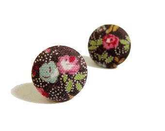 Clip On Earrings / Stud Earrings / Button Earrings - brown floral earrings