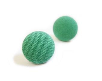 Fabric Button Earrings / Clip On Earrings / Post Earrings - green earrings