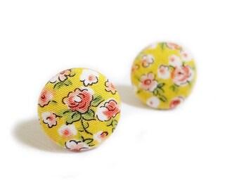 FREE SHIPPING Button Earrings / Clip On Earrings / Post Earrings - yellow floral earrings SALE