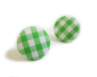 Button Earrings / Button Clip On Earrings - green gingham earrings