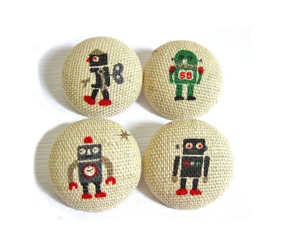 4 Large Fabric Buttons Set - Robots - Fabric Covered Buttons