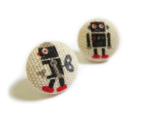 Clip On Earrings / Stud Earrings / Button Earrings  - robot earrings