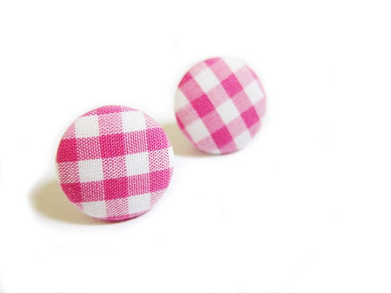 Button Earrings / Button Clip On Earrings - pink gingham earrings