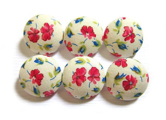 Fabric Covered Buttons - Red Petals - 6 Medium Buttons