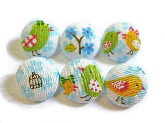 Fabric Covered Buttons - Lovebirds in Paris in Blue - 6 Medium Buttons LAST SET