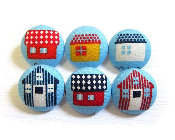 Fabric Covered Buttons - Houses Buttons - 6 Medium Buttons