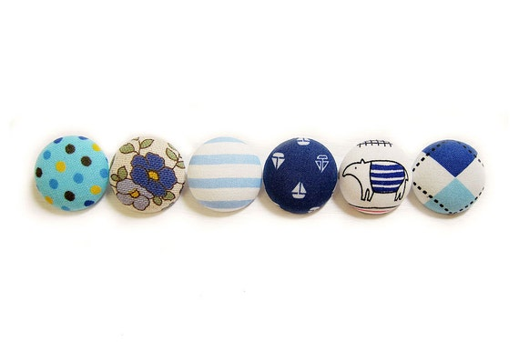 Sewing Buttons / Fabric Buttons - 6 Large Fabric Buttons Set - Blue Buttons