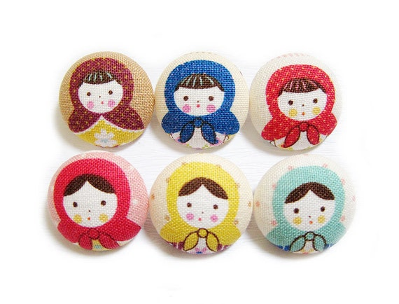 Babushka Buttons - Fabric Covered Buttons - 6 Large Fabric Buttons LAST SET