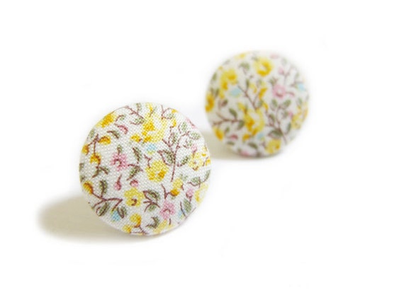 Button Earrings / Button Clip On Earrings - yellow floral earrings