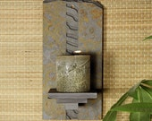 Natural Stone Wall Candle Sconce - Ripples on Copper Slate