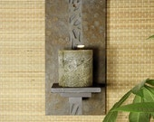 Natural Stone Wall Candle Sconce - Woodland on Copper Slate