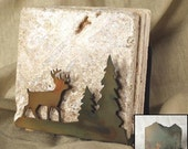 Natural Travertine Stone Coasters with Deer Holder