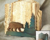 Natural Sandstone Coasters with Bear Holder