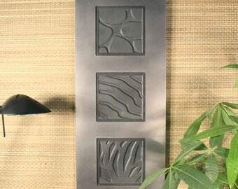 Natural Stone Wall Art Trio - Ebony Slate w/ Tinned Frame