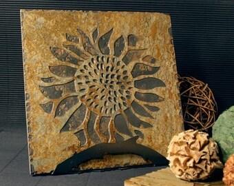 Natural Stone Trivet \/ Hot Plate - Sunflower on Buff Slate