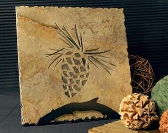 Natural Stone Trivet \/ Hot Plate - Pinecone on Buff Slate