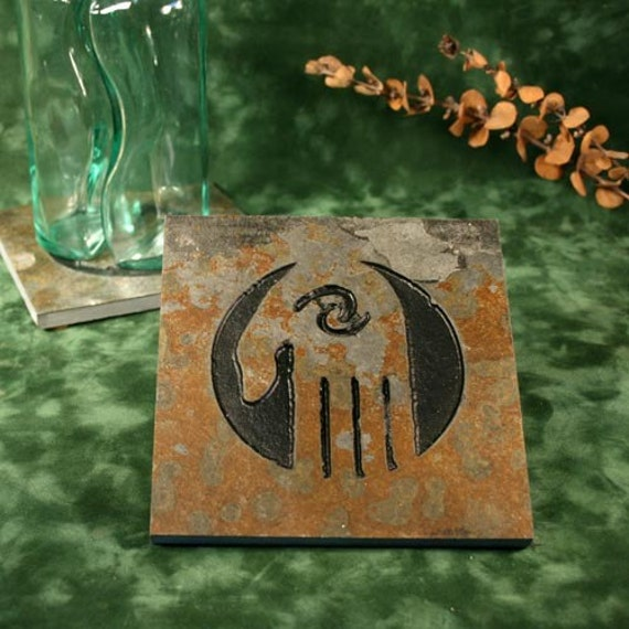 Natural Stone Trivet / Hot Plate - Spirit Hand on Copper Slate