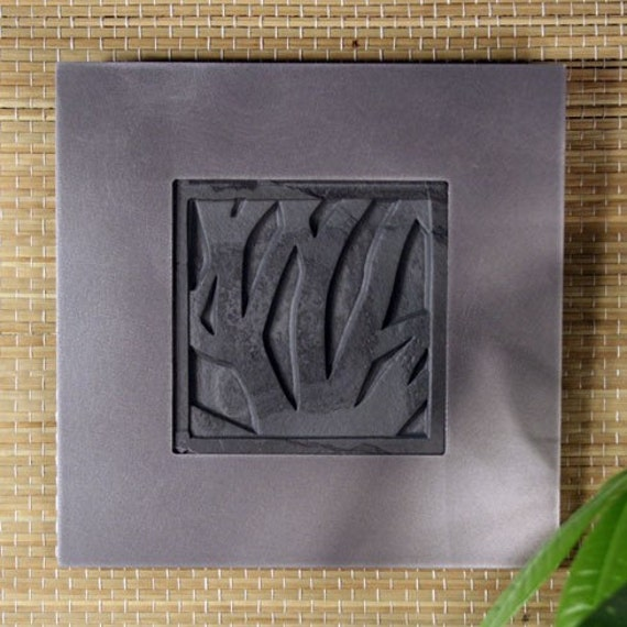 Natural Stone Wall Art Single - Woodland on Ebony Slate w/ Tinned Frame
