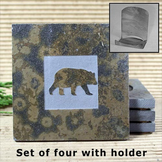 Bear - Real Etched Slate Coaster Set with Holder