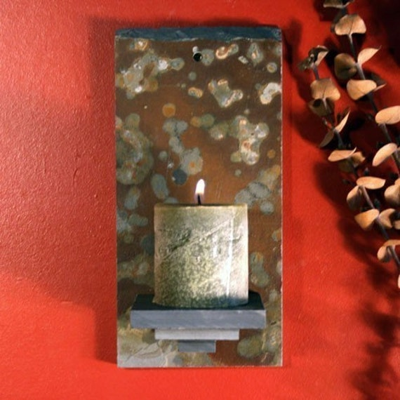 Natural Slate Wall Candle Sconce on Copper Stone