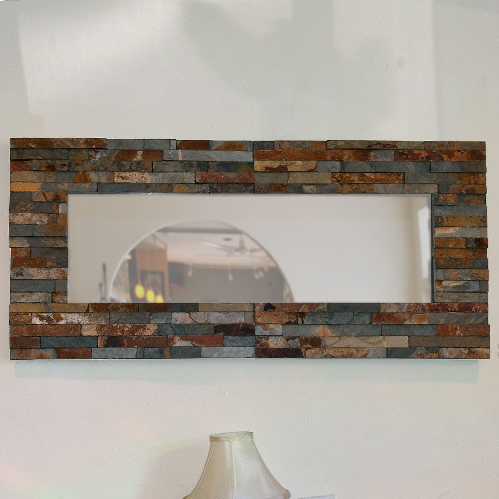 Ledge wall mirror natural rustic stone for Rustic mirror