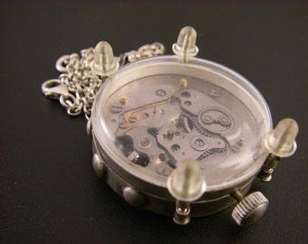 Steampunk Watch Movement in Sterling Silver Bezel Pendant