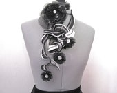 Fabric Fiber Statement Necklace Crystal Buttons and Rosettes Black and Silver Fabric  Cloth Fabric Necklace Avant Garde
