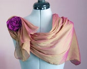 Scarf Set With Fabric Rose - Accessories, Cloth Fiber Art Iridescent Silk Cotton and Chiffon