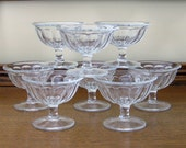 Vintage Clear Glass Sherbert Glasses Set of 8