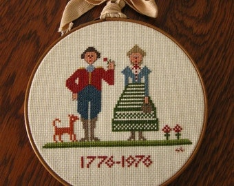 1776-1976 Counted Cross Stitch Folk Art Sampler in Vintage Embroidery Hoop