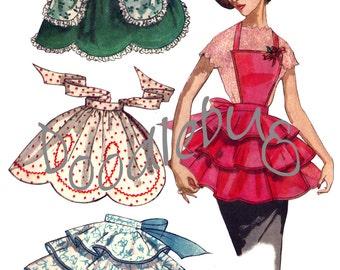 Vintage 1956 Apron Pattern Picture Art Print on Watercolor Paper No. 18
