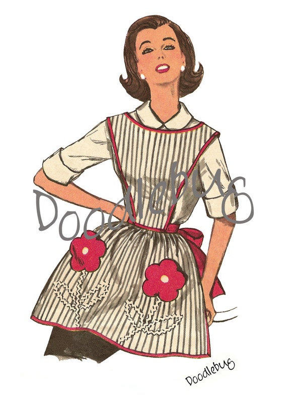 Vintage Apron Pattern Picture Art Print on Watercolor Paper No. 9c