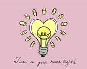 Yellow Lightbulb 5x5 Digital Illustration Art Print - Heart Light