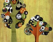 Orange, Green and Brown Full Circle Tree - A Moment of Zen - 8x10 Collage Reproduction Wall Art Print