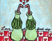 Soda  Bottle Painting 8x8 Art Print - Love at First Sip