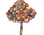Full Circle Tree - Yellow, Red and Blue Animal Crackers - Collage Reproduction 5x7 Print