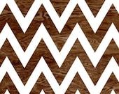 BOGO SALE - Dark Brown Wood Grain Faux Bois White Chevron Pattern Art Print Home Decor -  8 x 10 - Chevron No. 4