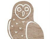 Brown Woodgrain Faux Bois Owl Silhouette on White Art Print  -  8 x 10 Home Decor Wall Art - You're A Hoot