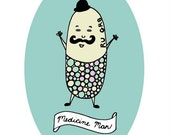 Pastel Yellow, Green and Pink Capsule Pill Medicine Man with Mustache and  Bowler Hat   - 5x7 Funny  Art Print