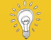 Bright yellow - Lightbulb Illustration Print  5x5  - Let there be Light