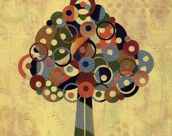 Full Circle Tree - Knit Sweater Tree - 8x10 Collage Reproduction Print - Warmth-  Red, Yellow. Blue and Green