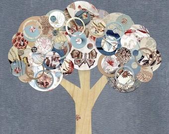 Full Circle Tree - Metamorphosis - 8x10 Collage Reproduction Print - Blue, Cream Woodgrain Faux Bois