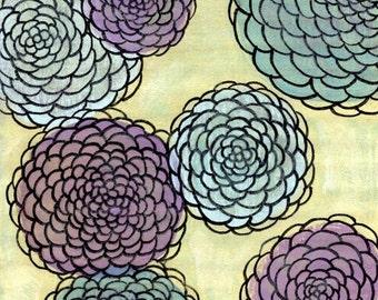 Yellow, Periwinkle and Lavender Chrysanthemum Flowers Mums -  Serenity - 8x8 Art Print - Home Decor