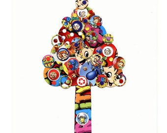 Multi-colored Full Circle Tree - Fruity Pebbles - Collage Reproduction 5x7 Art Print - Red, Blue, Pink Yellow