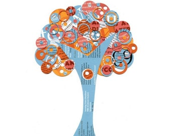 Blue, White and Orange Full Circle Tree - Just Peachy - Upcycled Collage Reproduction 5x7 Print