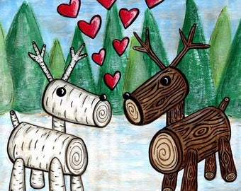 Winter Log Reindeer Deer 8x8 Wall Art Print - Loggy Love Illustration