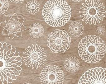 Woodgrain Faux Bois White Spirograph Home Decor  Art Print  -  8 x 10 -Round and Round