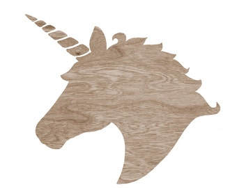 Brown Wood grain Faux Bois Unicorn Head Silhouette on White -  8 x 10 Home Decor Wall Art Print - Do you Believe in Magic